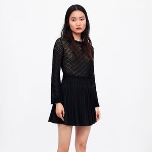 Zara Basic Skirt Box Pleated Asymmetrical Layered